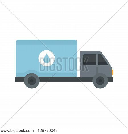 Milk Delivery Truck Icon. Flat Illustration Of Milk Delivery Truck Vector Icon Isolated On White Bac