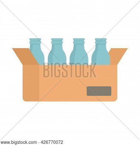 Milk Bottle Carton Box Icon. Flat Illustration Of Milk Bottle Carton Box Vector Icon Isolated On Whi