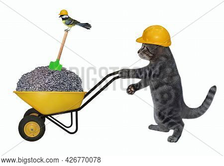 A Gray Cat Builder In A Construction Helmet Pushes A Wheel Barrow Full Of Crushed Stone. White Backg