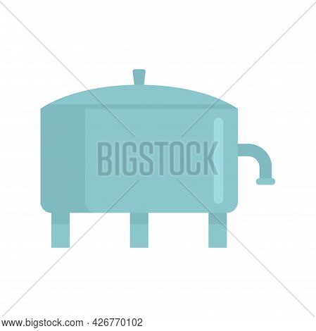 Milk Factory Tank Icon. Flat Illustration Of Milk Factory Tank Vector Icon Isolated On White Backgro