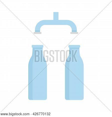 Pour Milk Factory Line Icon. Flat Illustration Of Pour Milk Factory Line Vector Icon Isolated On Whi