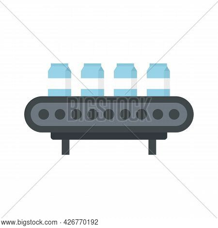 Milk Package Assembly Line Icon. Flat Illustration Of Milk Package Assembly Line Vector Icon Isolate