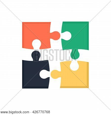 Puzzle Pieces Icon. Flat Illustration Of Puzzle Pieces Vector Icon Isolated On White Background