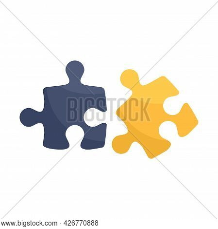 Match Jigsaw Icon. Flat Illustration Of Match Jigsaw Vector Icon Isolated On White Background