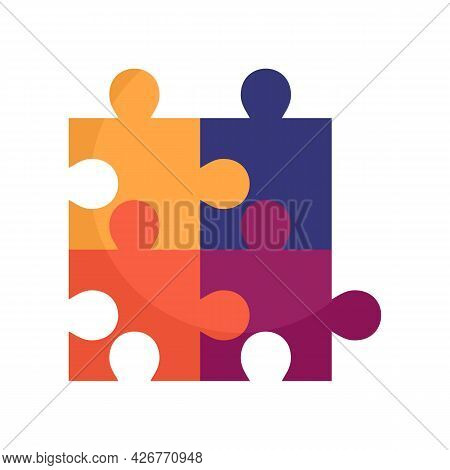 Cube Puzzle Icon. Flat Illustration Of Cube Puzzle Vector Icon Isolated On White Background