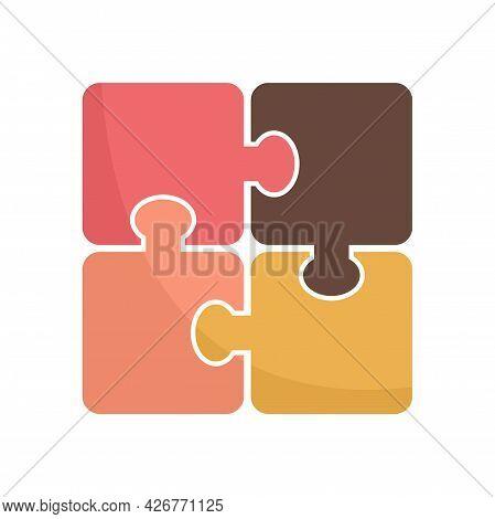 Development Puzzle Icon. Flat Illustration Of Development Puzzle Vector Icon Isolated On White Backg