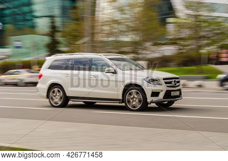 Moscow, Russia - May 2021: Mercedes Gl Class X166 In The City Street. Urban Scene With Vehicle Ridin