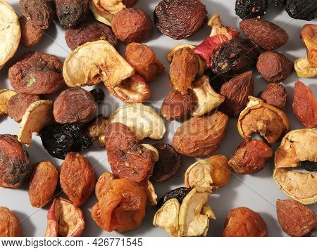 Compote Mixture Of Dried Fruits, Dirty Natural Organic Dried Apples, Raisins With Apricots, Uruk And