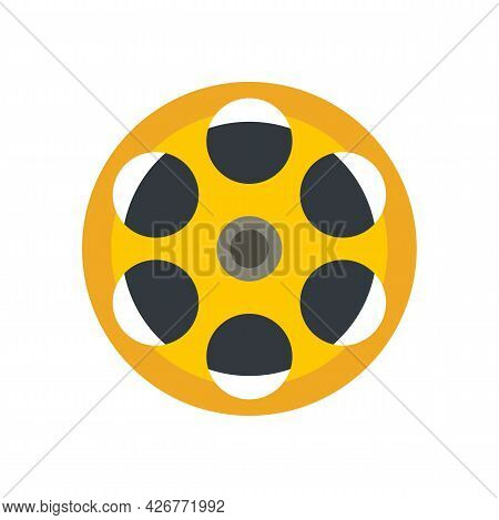 Film Reel Icon. Flat Illustration Of Film Reel Vector Icon Isolated On White Background