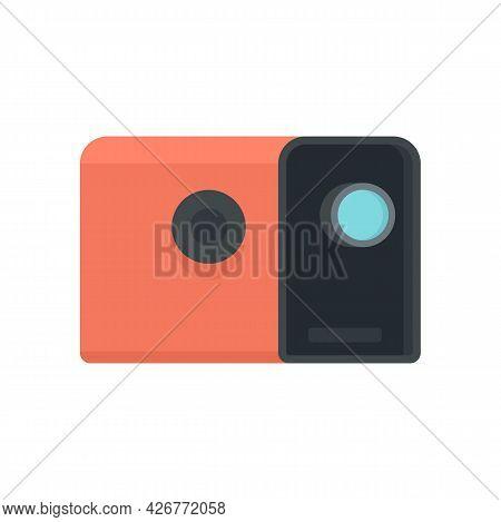 Media Film Projector Icon. Flat Illustration Of Media Film Projector Vector Icon Isolated On White B