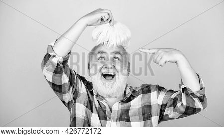 Health Care Concept. Elderly People. Bearded Grandfather Grey Hair. Hair Loss. Early Signs Balding.