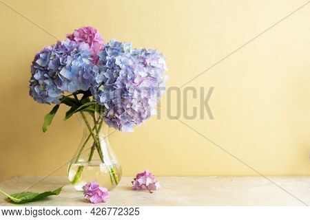 Blue Hydrangea Flower Bouquet In Glass Vase. Abstract Geeting Card. Copy Space For Text