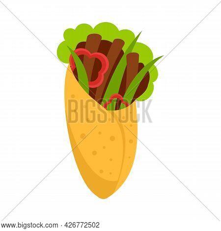 Greek Vegan Food Icon. Flat Illustration Of Greek Vegan Food Vector Icon Isolated On White Backgroun