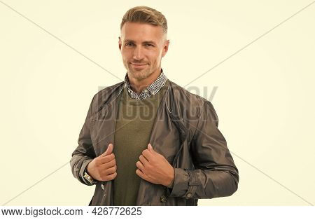 Confidence And Charisma. Good Looking Guy Isolated On White. Male Autumn Fashion Style. Mens Beauty.