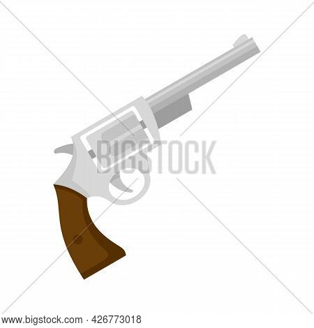 Steel Revolver Icon. Flat Illustration Of Steel Revolver Vector Icon Isolated On White Background