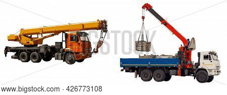 Machine With Truck Crane And On-board Loader Crane Isolated On White Background. The Boom Of The On-