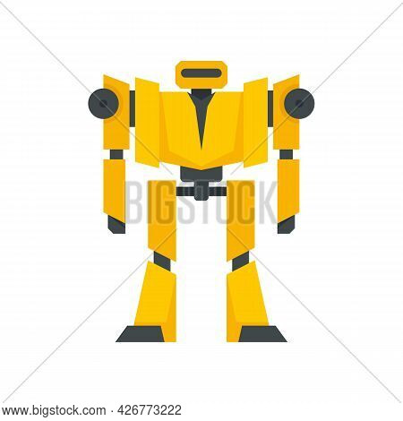 Guard Robot Transformer Icon. Flat Illustration Of Guard Robot Transformer Vector Icon Isolated On W