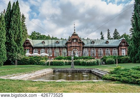 Karlova Studanka, Czech Republic-july 9,2021. Famous Thermal Spa Town Surrounded By Jeseniky Mountai