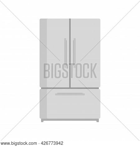 Two Door Fridge Icon. Flat Illustration Of Two Door Fridge Vector Icon Isolated On White Background