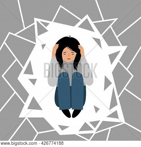 Female Character Panic Attack. Depression. Girl Afraid Isolated On White Background. The Girl Is Sit