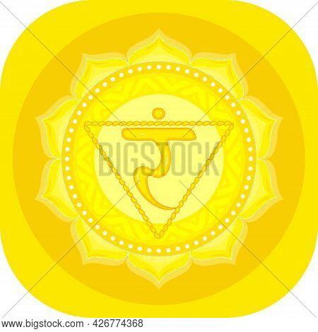 The Third Chakra Of Manipur. Solar Plexus Chakra With Hindu Sanskrit. Meditation, Yoga. Illustration