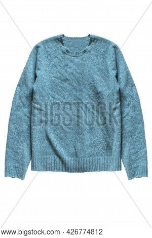 Blue Knit Wool Casual Pullover Isolated Over White