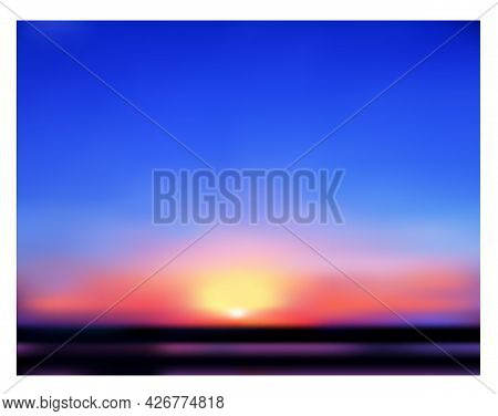 Early Morning. Romantic Colorful Sunrise. Gradient Blurry Texture. Vector Illustration.