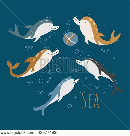 Vector Collection Of Dolphins Isolated On A Blue Background. Set Of Cute Dolphins Play Ball. Vector