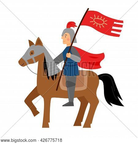 The Knight Sits On A Horse Wearing A Helmet And Armor. A Warrior Is Holding A Flag. Character From A