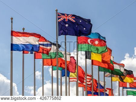 Many Flags Of Various States - As A Symbol Of World Cooperation. Flags Of The Countries Of The World