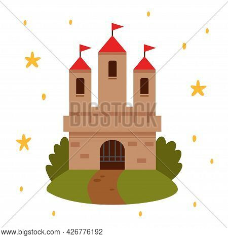 Fairytale Landscape With Castle. White Tower With Red Flags, Fairy House Or Magic Castles Kingdom. V