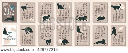 Calendar 2022 With Black Cat.cute Hand Drawn Kittens In Boho Style.template In Size A4 A3 A5.vertica