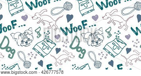 Seamless Doodle Pattern With Dogs, Footprints And Other Items On The Topic Of A Puppy, Grooming, Vet