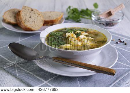 Close-up Serving Of Vegetarian Vegetable Soup With Dumplings. Healthy And Dietary Food. Vegetarianis