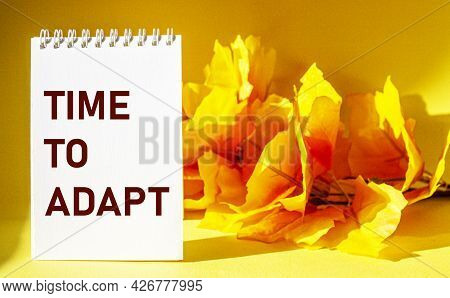 Time To Adapt - Text On Notepad And Yellow Foliage Background. Reality Business Startup Crisis Conce