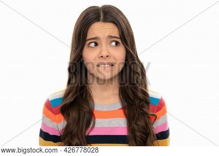 Feeling Anxious. Nervous Girl Portrait Isolated On White. Child Face Portrait