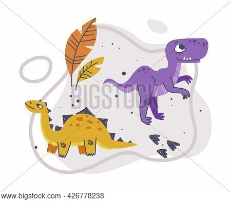Jurassic Park Composition With Funny Dinosaurs As Cute Prehistoric Creature And Comic Predator Vecto