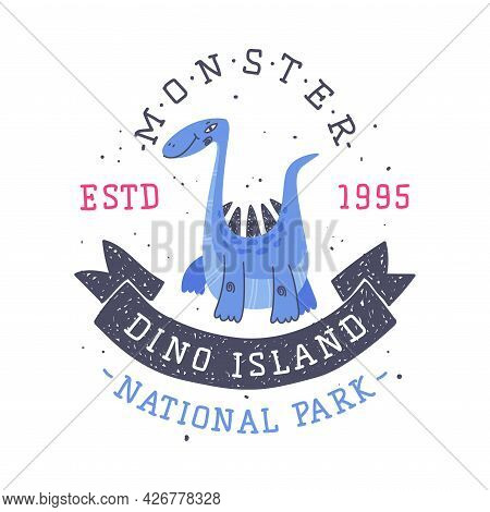 Dino Island And Dino Park Family Entertainment Emblem With Funny Dinosaur As Cute Prehistoric Creatu