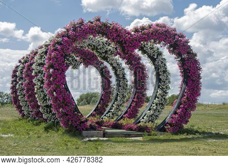 Flowers Heart Shape Door.heart Arches Pathway In Kiev Flower Park, Ukraine