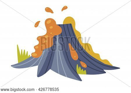 Volcanic Eruption With Hot Lava Splash Vector Illustration