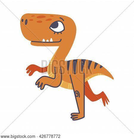 Funny Bipedal Dinosaur As Cute Prehistoric Creature And Comic Jurassic Predator Vector Illustration
