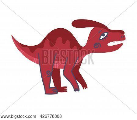 Funny Red Dinosaur Roaring As Cute Prehistoric Creature And Comic Jurassic Predator Vector Illustrat