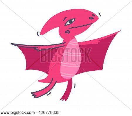 Funny Winged Dinosaur As Cute Prehistoric Creature And Comic Jurassic Predator Vector Illustration
