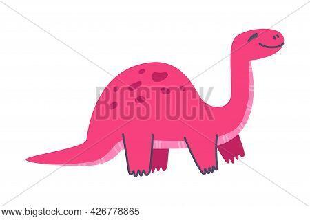 Funny Pink Dinosaur As Cute Prehistoric Creature And Comic Jurassic Predator Vector Illustration