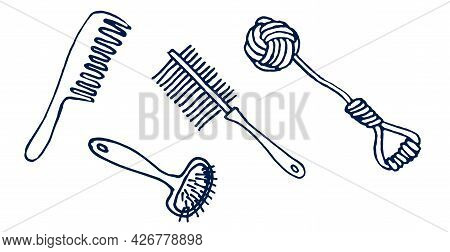Items For The Care Of A Pet Dog, Isolated On A White Background. Grooming Salon, Doodles On The Topi