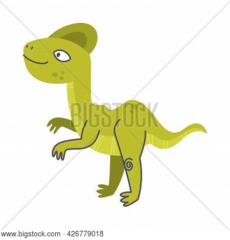 Funny Green Dinosaur As Cute Prehistoric Creature And Comic Jurassic Predator Vector Illustration