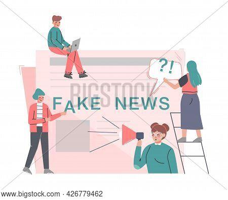 Fake News Disseminating, Mass Media Propaganda, Untruth Information Spread Cartoon Vector Illustrati