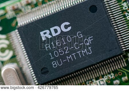 Timisoara, Romania - March 15, 2020: Close-up Of A Rdc R1610-g Microcontroller. Electronic Component