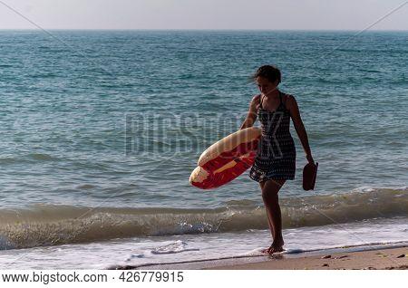 2 Mai, Romania - July 13, 2017: People Walking On The Beach. Real People.