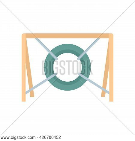Dog Tire Obstacle Icon. Flat Illustration Of Dog Tire Obstacle Vector Icon Isolated On White Backgro